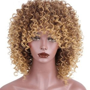 blond curly wig