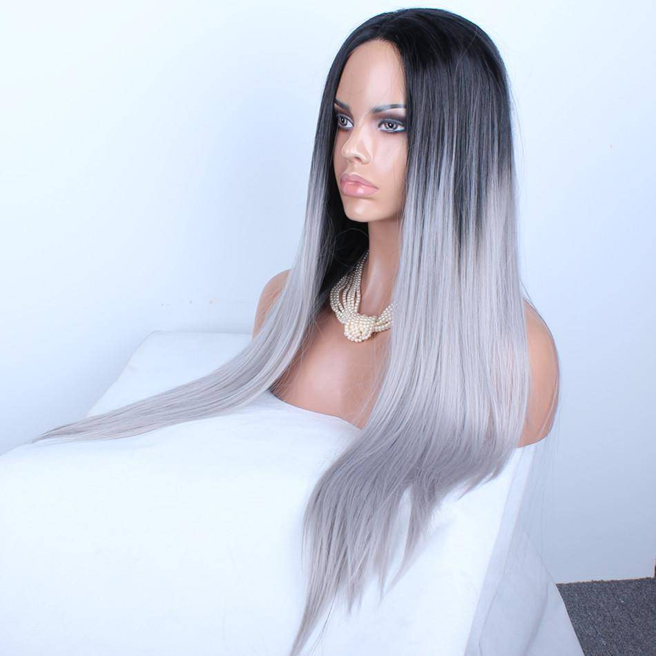 grey ombre lace wig synthetisch 70 cm sams hair extensions. Black Bedroom Furniture Sets. Home Design Ideas